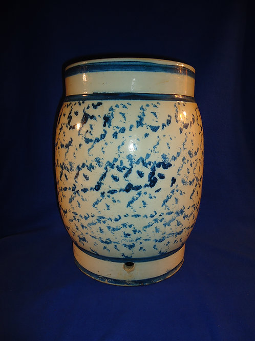 5 Gallon Blue and White Spongeware Stoneware Water Cooler