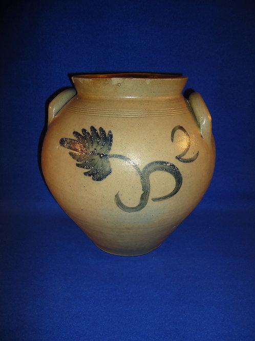 Circa 1830 Stoneware 2 Gallon Ovoid Jar with Tulip from New York #5644