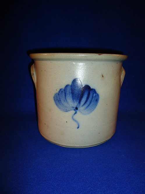 Circa 1870 1 Gallon Stoneware Crock with Tulip from the Northeast