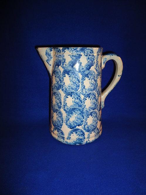 Blue and White Spongeware Stoneware Pitcher with Smoke Ring Pattern #4585