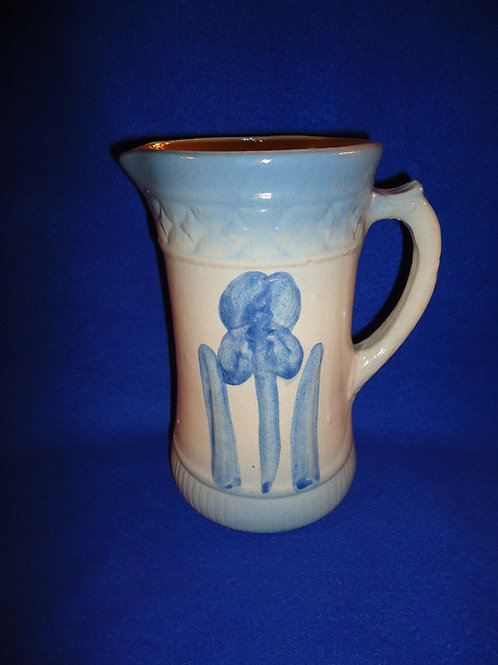 Blue and White Stoneware Pitcher in the Iris Pattern