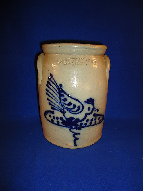 Beaumont Pottery, York, Maine Stoneware Jar, Chicken Pecking Corn #5118