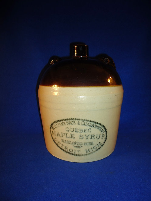 Williams and Charbonneau, Detroit, Michigan, Quebec Maple Syrup Stoneware Jug