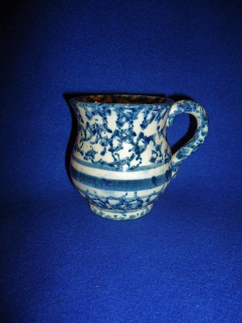 Blue and White Spongeware Stoneware Blue Banded Shaving Mug #4508