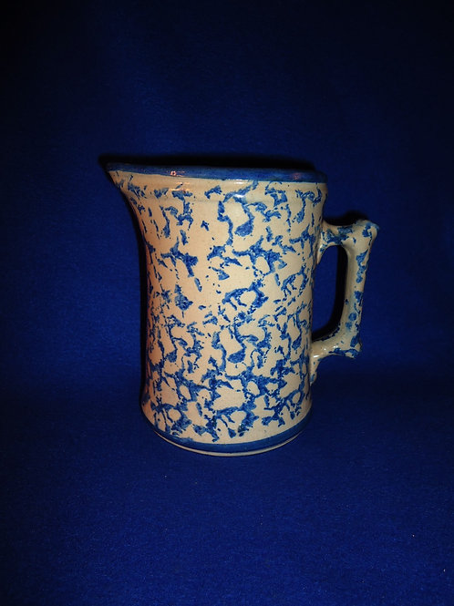 Blue and White Stoneware Spongeware Pitcher with Cobalt Trim