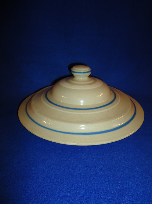 """Blue and White Striped 11 1/2"""" Stoneware Lid #5922"""