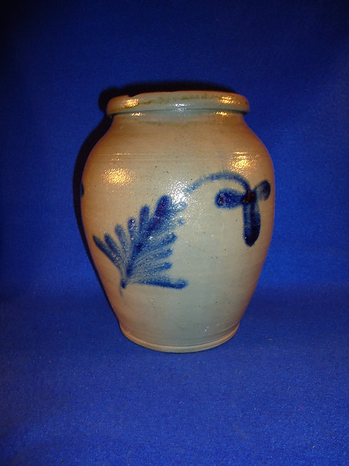 Circa 1860 Stoneware Ovoid Jar with Tulips, att. Remmey of Philadelphia