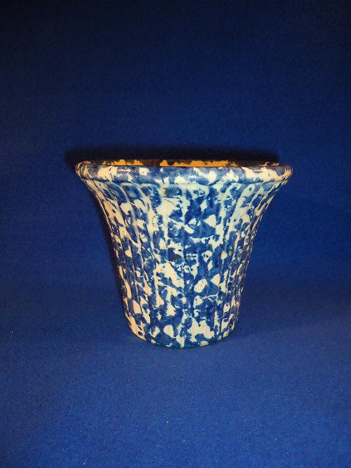 Blue and White Spongeware Stoneware Ribbed Flower Pot