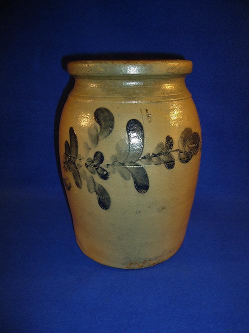 Circa 1860 1 1/2 Gallon Jar with Floral Garland, Beaver, Pennsylvania #4876