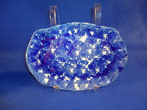 """Blue and White Stoneware Spongeware Platter, 9 1/2"""""""
