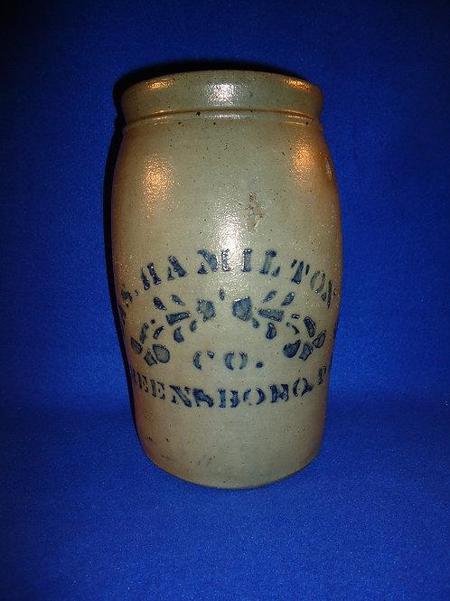 James Hamilton, Greensboro, Pennsylvania Stoneware 1 Gallon Jar with Floral