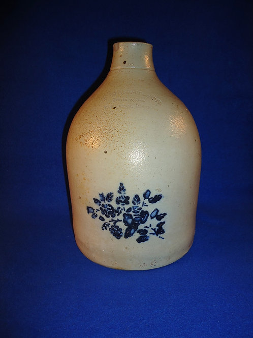 F. T. Wright & Son, Taunton, Massachusetts Stoneware 1 Gallon Jug with Roses
