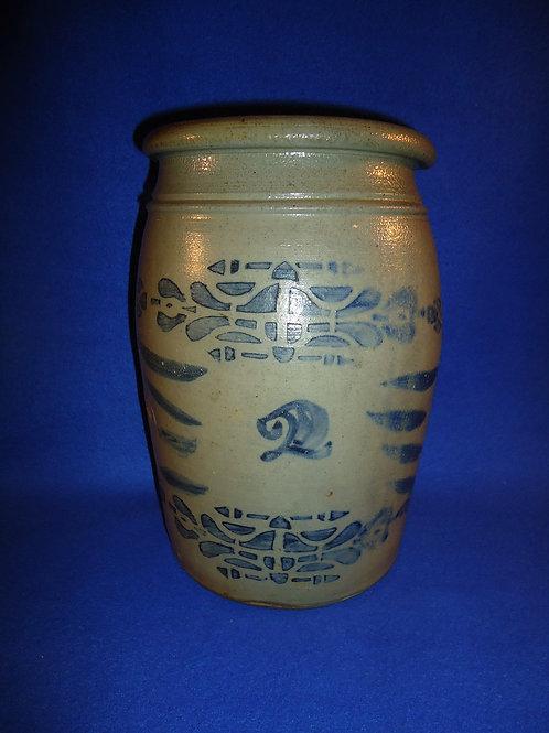 2 Gallon Decorated Stoneware Jar, att. A. Conrad, New Geneva #5388