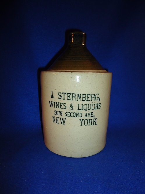 J. Sternberg, Wines & Liquors, New York City Stoneware 1/2g Jug, Robinson Clay