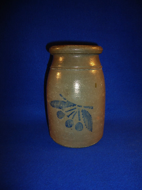 Stoneware Wax Sealer Canning Jar with Cluster of Cherries, Greensboro, PA