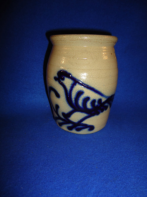 """Jerry Beaumont 5 1/2"""" Stoneware Jar with Bird on a Branch #5183"""
