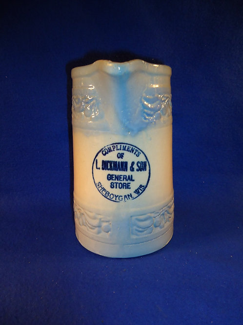 L. Dickmann, Sheboygan, Wisconsin Blue and White Stoneware Pitcher by Red Wing