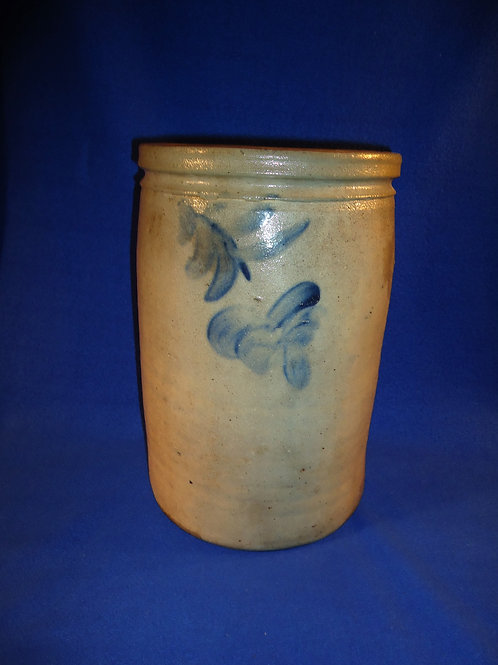 Circa 1870 Stoneware 2 Gallon Jar with Dangling Florals from Baltimore, Maryland