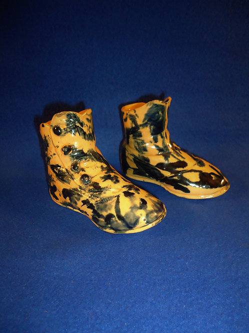 Mid-19th Century Pair of Yellow Ware Shoes with Cobalt Drip Glaze