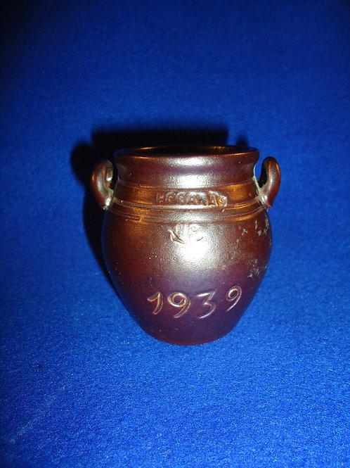 Hoganas, Sweden Stoneware Miniature Presentation Open Handled Crock 1939