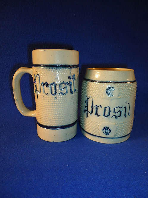 "Pair of Whites of Utica ""Prosit"" or ""To Your Health"" Mugs for One Money"