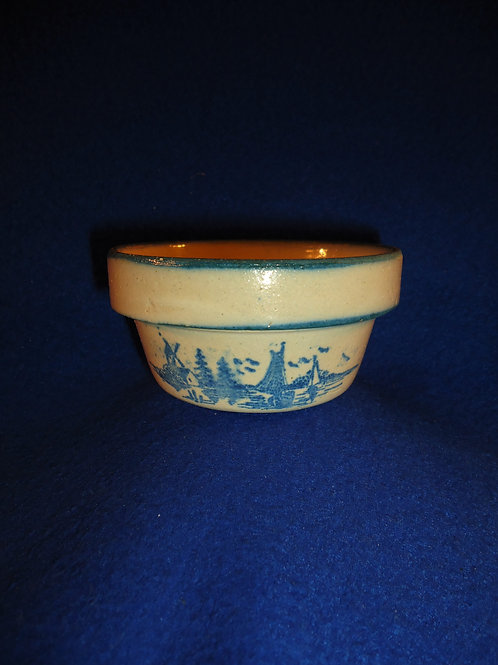Miniature Toy Blue and White Stoneware Bowl with Dutch Scene