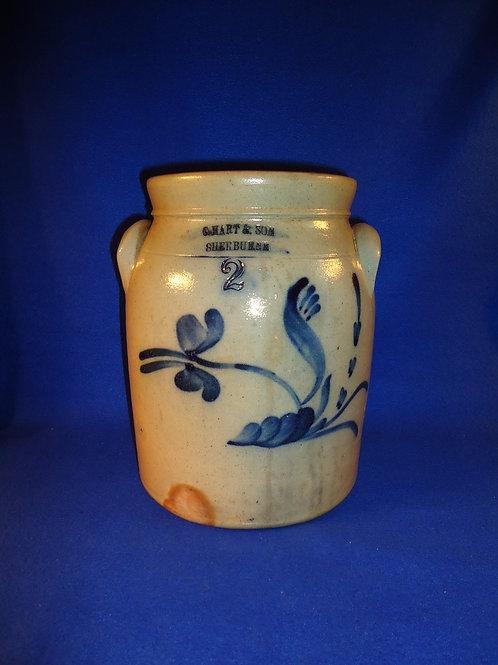 C. Hart & Son, Sherburne, New York Stoneware 2g Preserve Jar with Plow Flower
