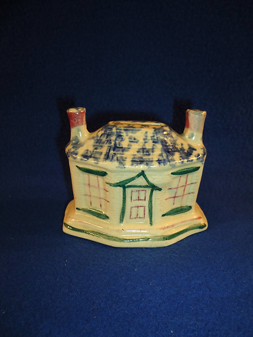 Staffordshire House Bank with Blue and White Spongeware