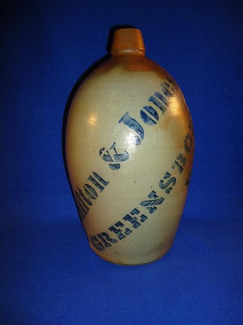 Circa 1880 Hamilton and Jones 2 Gallon Stoneware Jug with Large Lettering