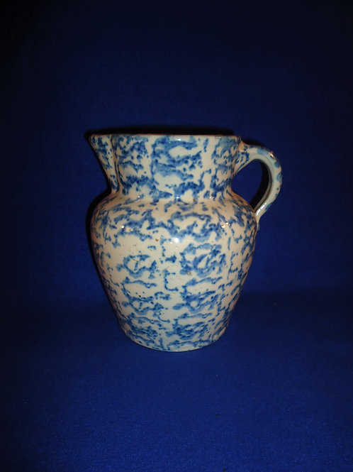 "Blue and White Spongeware Stoneware Pitcher, Uncommon Shape, 7 1/2"" #4927"