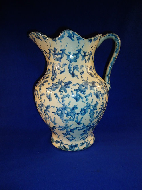 Blue and White Stoneware Spongeware Pitcher with Fluted Rim