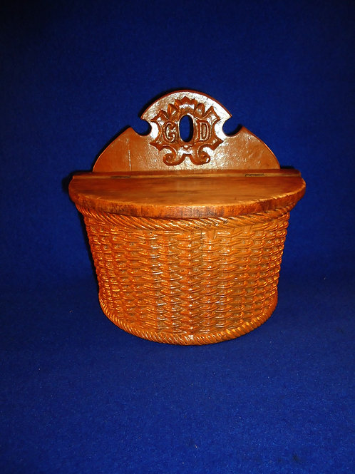 "Late 19th Century Basketweave Stoneware ""GOD"" Salt Crock from England"