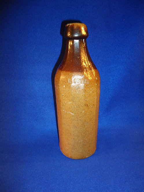 Dr. Cronk Stoneware Sarsaparilla Bottle with Albany Slip Dipped Top