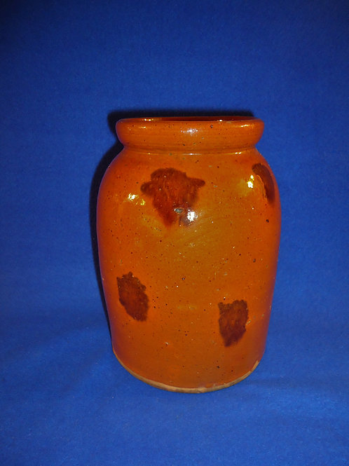 Circa 1840 Redware Jar with Manganese Daubs from CT or NY