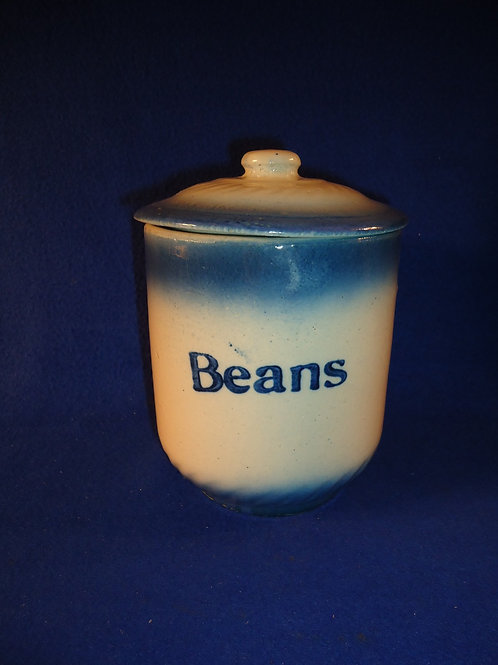 Blue and White Stoneware Diffused Blue Beans Canister by A. E. Hull