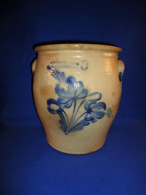 Cowden & Wilcox, Harrisburg, Pennsylvania Stoneware 3g. Jar with Floral #4496