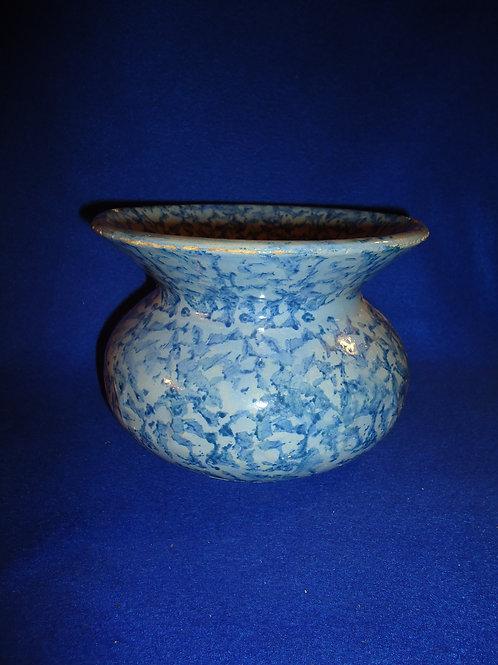 Blue on Blue Spongeware Stoneware Cuspidor with Embossed Stars