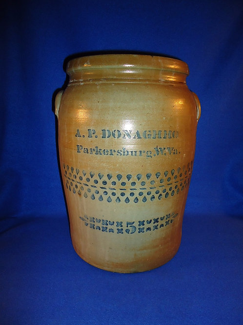 A. P. Donaghho, Parkersburg, West Virginia Stoneware 5g Jar with 2 Zippers