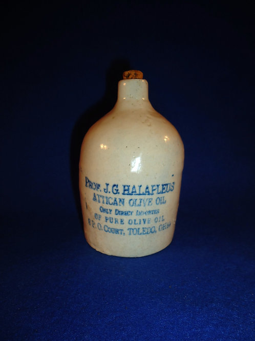 J. G. Halapleus, Olive Oil, Toledo, Ohio Stoneware Blue and White Mini Jug