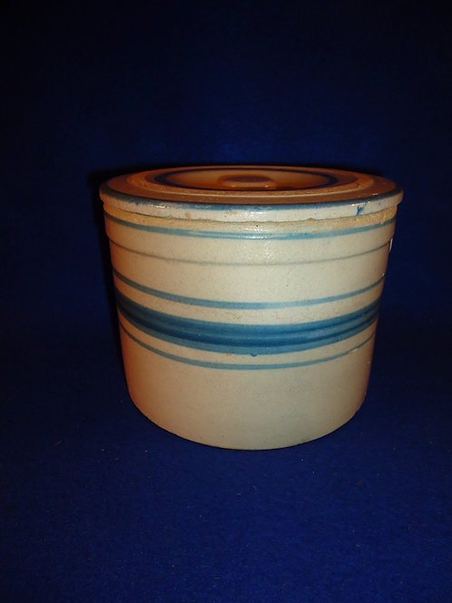 Blue and White Stoneware Striped Butter Crock with Lid