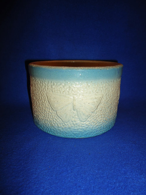 Blue and White Stoneware Butterfly Butter Crock #5491