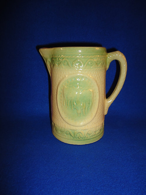 """Rare Yellow Ware Green and Cream 6 1/2"""" Grazing Cows Pitcher #4596"""