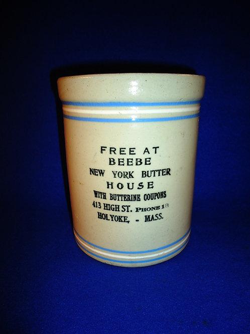 Beebe, New York Butter House, Holyoke, Massachusetts Stoneware Butter Crock