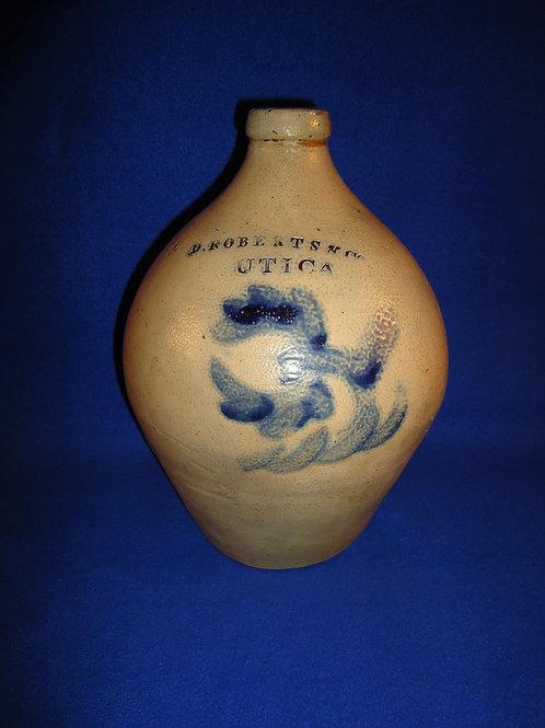 D. Roberts & Co., Utica, New York Stoneware 1 Gallon Ovoid Jug with Tulip #4990