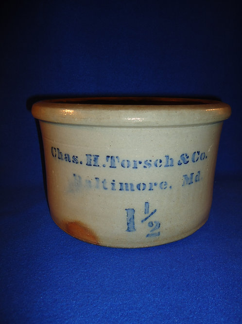 Chas. H. Torsch, Baltimore, Maryland Stoneware Butter Crock made by Donaghho
