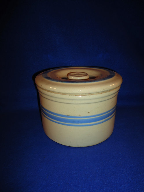 Blue and Cream Striped Yellow Ware Butter Crock