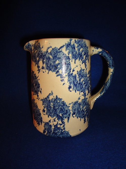 Late 20th Century 6 Blue and White Stoneware Spongeware Pitcher