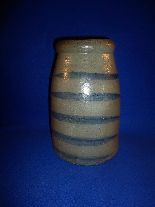 Circa 1870 Stoneware 1 Gallon Wax Sealer with 5 Stripes from SW Pennsylvania