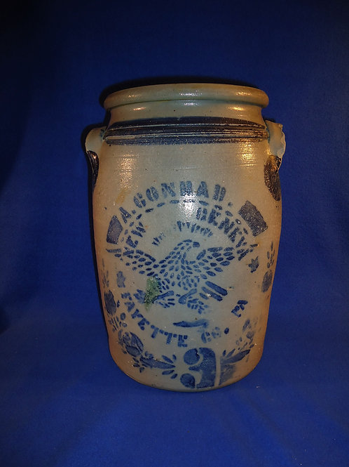 A. Conrad, New Geneva, Pennsylvania Stoneware 3g Jar with Eagle #5233