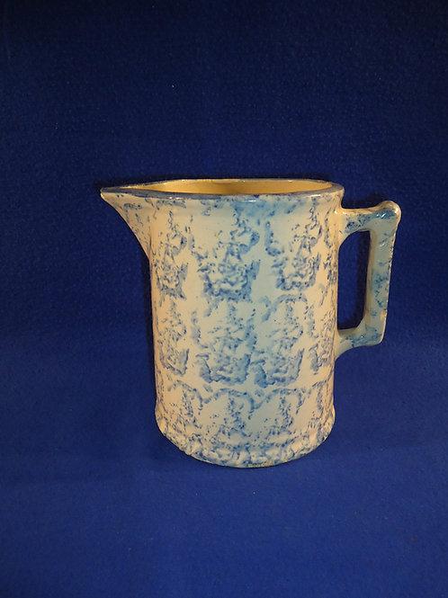 Blue and White Spongeware Stoneware Hallboy Pitcher